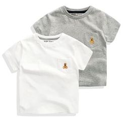 lalalove - Kids Embroidered Short-Sleeve T-Shirt
