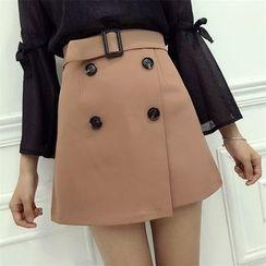 Octavia - Buttoned Mini A-Line Skirt