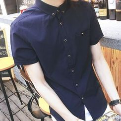 Danjieshi - Plain Short-Sleeve Shirt