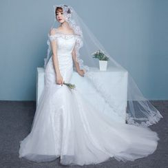 Luxury Style - Cut Out Shoulder Mermaid Wedding Gown With Train