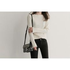 UPTOWNHOLIC - Round-Neck Ribbed Knit Top