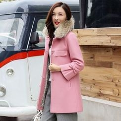 AiSun - Furry Collar Long Coat