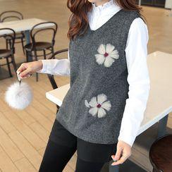 CLICK - Floral Pattern Wool Blend Knit Vest