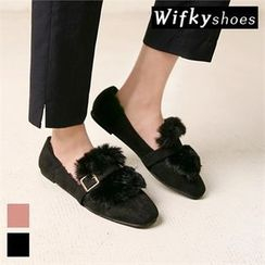 Wifky - Buckled Faux-Fur Trim Faux-Suede Loafers