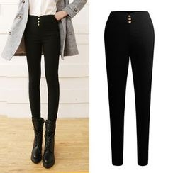 YAYAGREEN - Fleece-Lined Skinny Pants