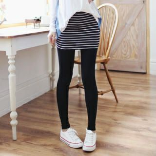 Soneed - Inset Stripe Skirt Leggings