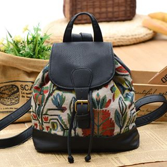 Vintage Kiss - Floral Print Canvas Buckled Faux Leather Backpack