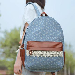 SUPER LOVER - Lace-Trim Floral Backpack