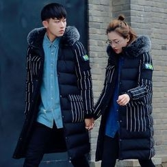 Simpair - Couple Matching Striped Hooded Padded Coat