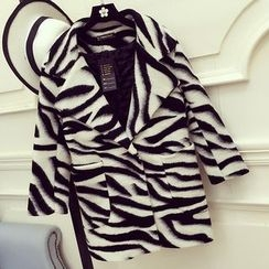 Honeydew - Notch Lapel Zebra Print Woolen Coat