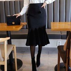 DABAGIRL - Wool Blend Tweed Midi Mermaid Skirt