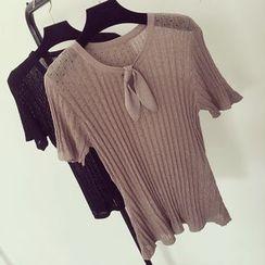 Honeydew - 短袖蝴蝶结针织上衣