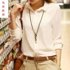 JIBOVILLE - Long-Sleeve Chiffon Blouse