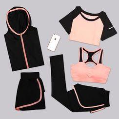 REALLION - Set: Tipped Hooded Jacket + Short Sleeve T-Shirt + Sports Bra + Shorts + Inset Leggings Shorts