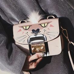 Shinian - Pompom Animal Print Shoulder Bag