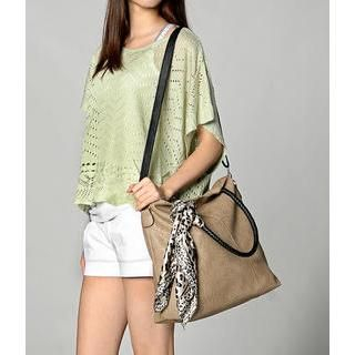 59 Seconds - Scarf Detail Snake Print Tote