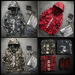 Free Shop - Camouflage Hooded Jacket