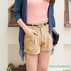 OrangeBear - 附蝴蝶结皮带口袋短裤