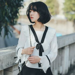 11.STREET - Frilled Trim Chiffon Blouse