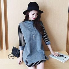 Fashion Street - Long-Sleeve Striped Dress