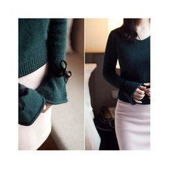 MASoeur - V-Neck Tie-Sleeve Sweater