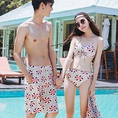 Sewwi - 情侣花纹泳裤 / 套装: 比基尼泳装 + 外罩衫