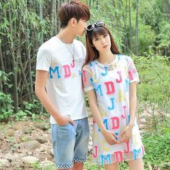 Igsoo - Couple Matching Letter Short-Sleeve T-shirt / T-shirt Dress