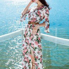 MUSI - Long-Sleeve Floral Chiffon Maxi Sundress