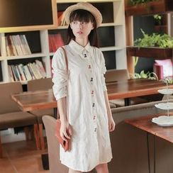 Tangi - Long Sleeved Embroidered Shirtdress