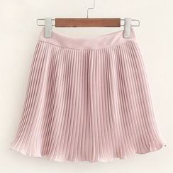 Mocha - Inset Shorts Pleated Skirt