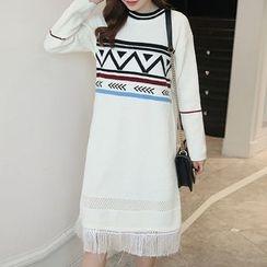 Dadada - Maternity Patterned Fringe Hem Sweater Dress