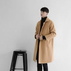 Seoul Homme - Hidden-Button Wool Blend Coat