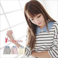 Maymaylu Dreams - Striped Pointed-Collar Long-Sleeve Top