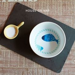 house on map - Fish Print Bowl