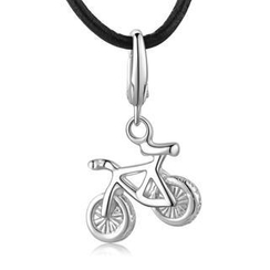 Bling Bling - Hypoallergenic Platinum Plated 925 Silver Bicycle Bike Charm (Necklace Is Not Included)