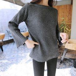 Hello sweety - Boat-Neck Wool Blend Rib-Knit Sweater