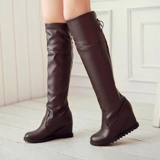 77Queen - Lace-Up Wedge Knee-High Boots