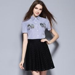 Cherry Dress - Set: Owl Pinstriped Short-Sleeve Blouse + Perforated Skirt