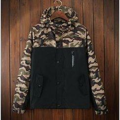Bigboy - Camouflage Panel Hooded Jacket