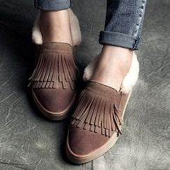 MIAOLV - Genuine Leather Fringed Shearling-lined Slip Ons