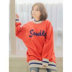 LOLOten - Lettering Contrast-Trim Oversized Sweatshirt