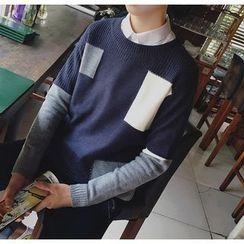 Bestrooy - Color Panel Chunky Sweater