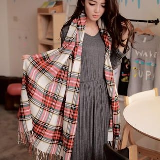 Cuteberry - Plaid Fringed Scarf