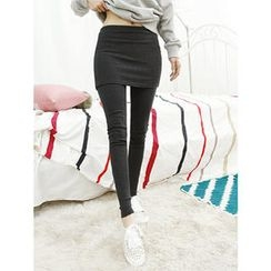 Dodostyle - Brushed Fleece Inset Skirt Leggings
