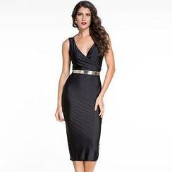 Dear Lover - Sleeveless V-neck Sheath Midi Dress