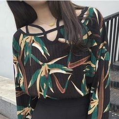 MATO - Cut Out Detailed Leaf Print Long Sleeve T-Shirt