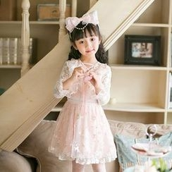 Candy Rain - Kids Flower Embroidered Lace Long Sleeve Dress
