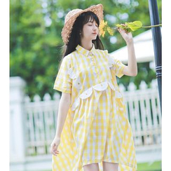 Moricode - Short-Sleeve Check A-line Dress