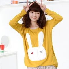 59 Seconds - Fleece Rabbit Appliqué Long-Sleeved T-Shirt