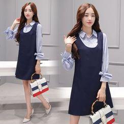Sienne - Set: Tie-Cuff Striped Shirt + Pinafore Dress